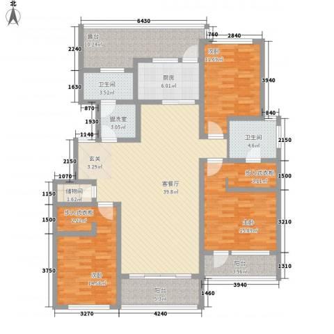 自在山居3室2厅2卫1厨136.00㎡户型图