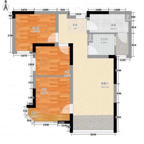 迁安碧桂园3室1厅1卫1厨62.42㎡户型图