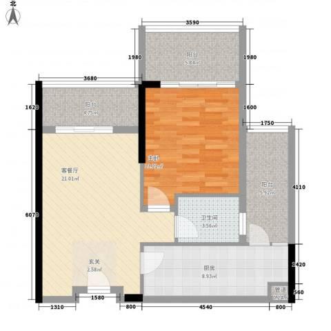 惠州雅居乐白鹭湖1室1厅1卫1厨83.00㎡户型图