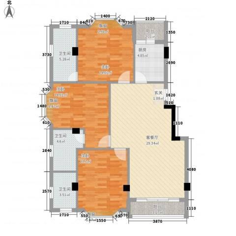 亚太新城3室1厅3卫1厨130.00㎡户型图
