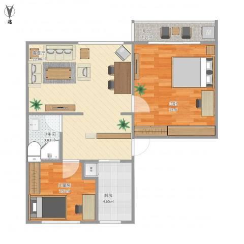 水霞小区2室1厅1卫1厨77.00㎡户型图