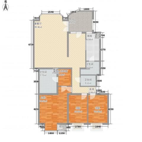 宁馨苑3室1厅3卫1厨175.00㎡户型图