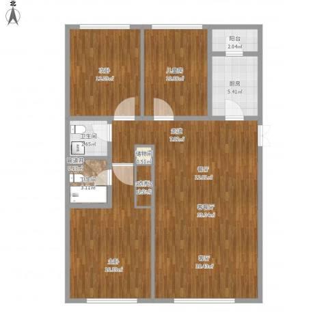 阳光100北园3室1厅2卫1厨130.00㎡户型图