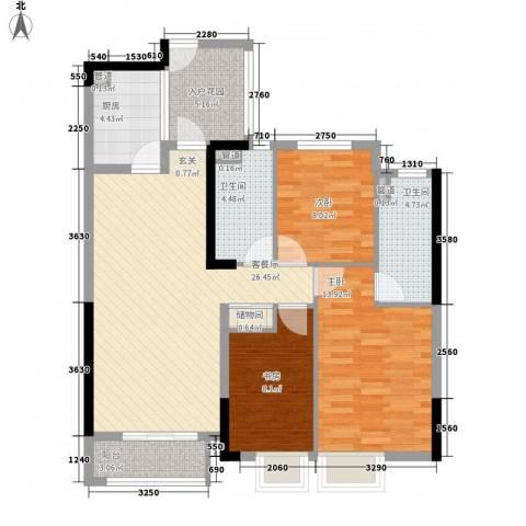 天阳云筑3室1厅2卫1厨116.00㎡户型图