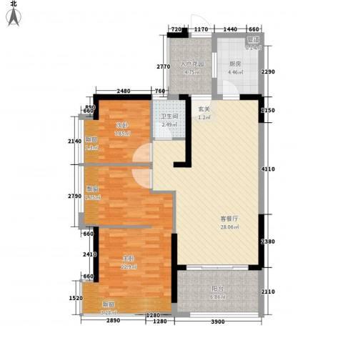 藏珑湖上国际社区2室1厅1卫1厨89.00㎡户型图
