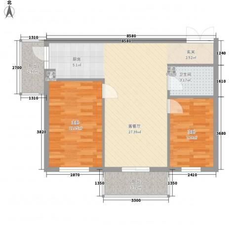 汇龙鑫阁2室1厅1卫0厨56.89㎡户型图