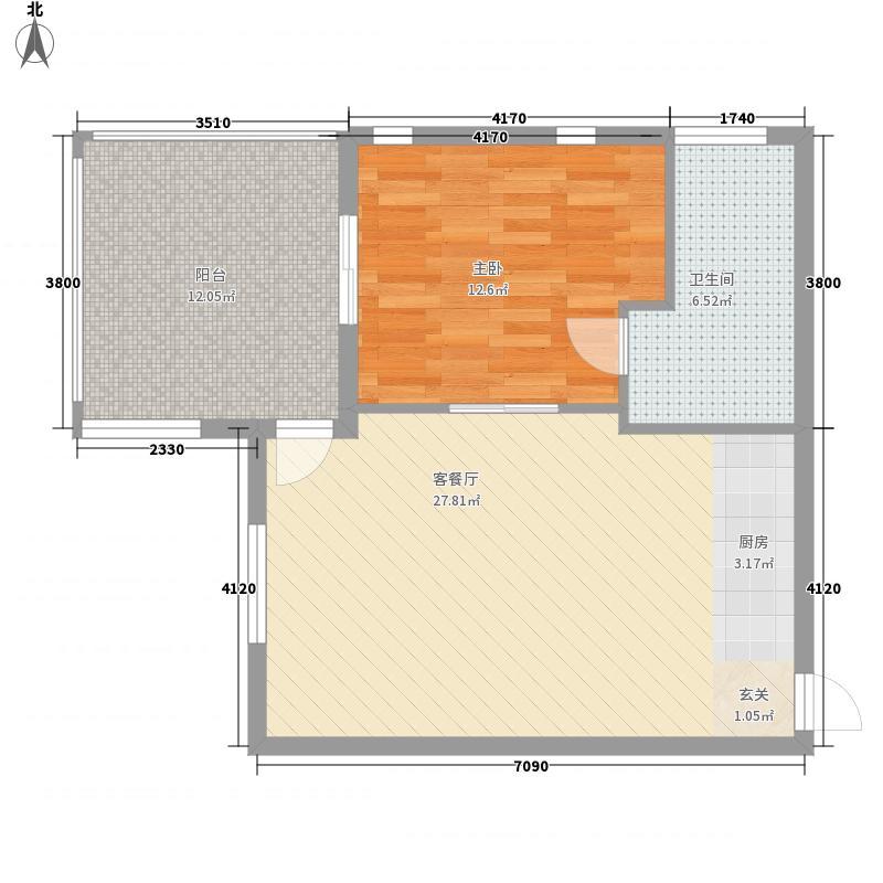 心海假日 1室 户型图