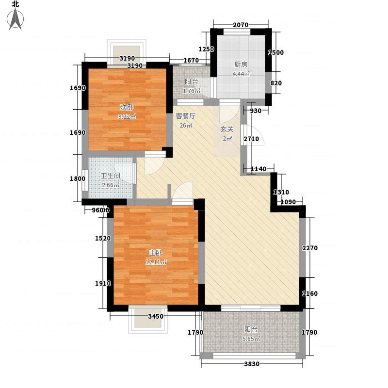 天奇・馨城2#A户型2室2厅1卫1厨