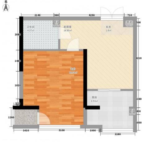 颐和香榭1室0厅1卫1厨65.00㎡户型图
