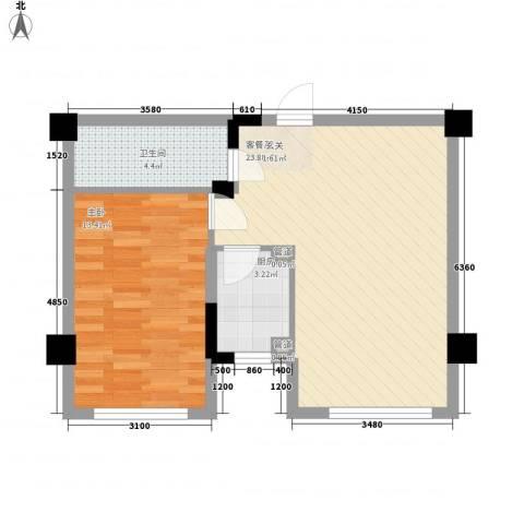 颐和香榭1室1厅1卫1厨62.00㎡户型图
