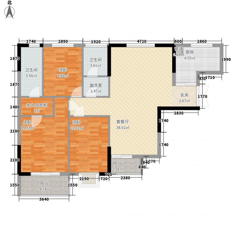 金侨尚东区13.25㎡1期1栋标准层B-03户型3室2厅2卫