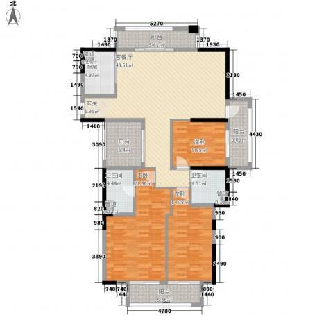 天阳云筑3室1厅2卫1厨140.00㎡户型图