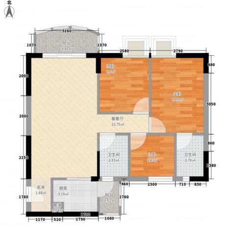 海富花园四期3室1厅2卫1厨83.00㎡户型图
