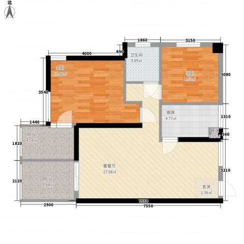 凤凰水城红树湾2室1厅1卫1厨96.00㎡户型图