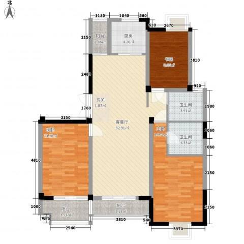 星河名居3室1厅2卫1厨131.00㎡户型图