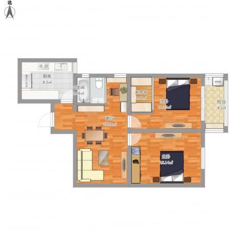 大众汽车公寓2室1厅1卫1厨77.54㎡户型图