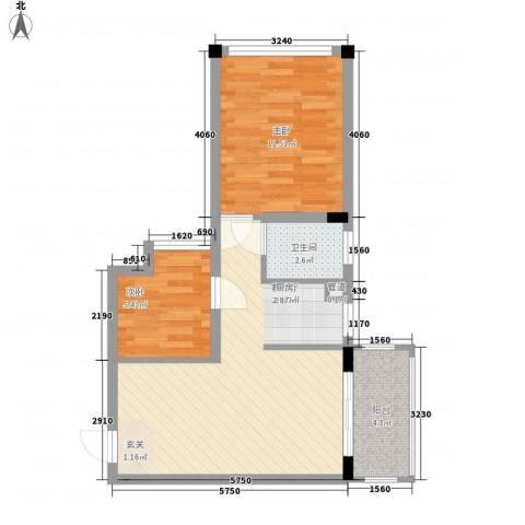 锦江钻石LIFE2室1厅1卫0厨65.00㎡户型图