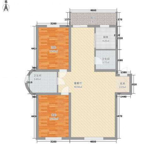 城建鑫宇园2室1厅2卫1厨124.00㎡户型图