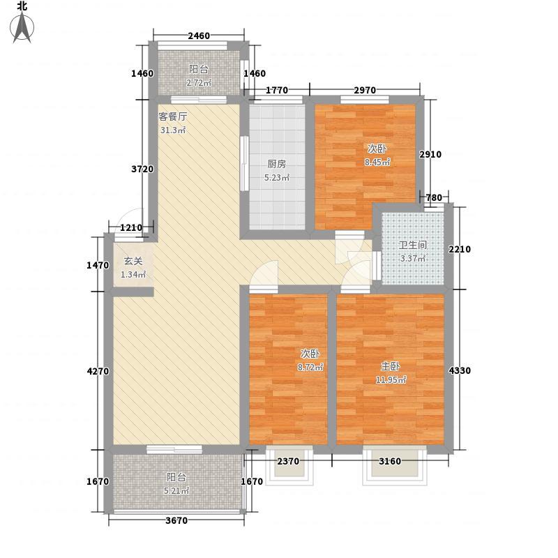 明珠小城113.00㎡户型3室