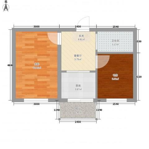 美景天城2室1厅1卫1厨51.00㎡户型图