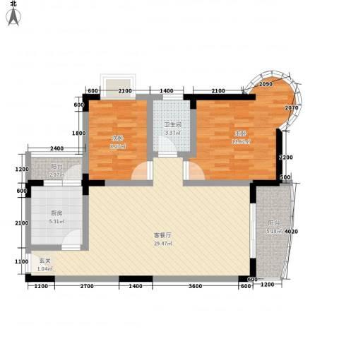 志龙大厦2室1厅1卫1厨72.00㎡户型图
