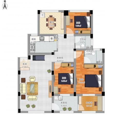 锦翠嘉苑3室1厅2卫1厨133.00㎡户型图