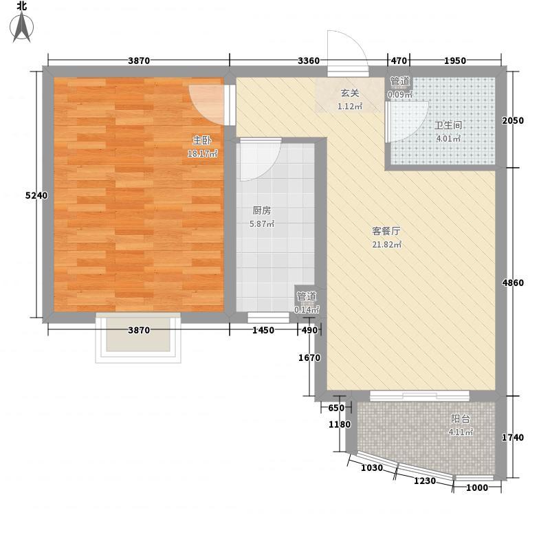 绿地世纪城五期77.27㎡A2户型1室2厅1卫1厨