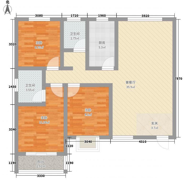 嘉冠尚城116.00㎡A户型3室2厅2卫1厨