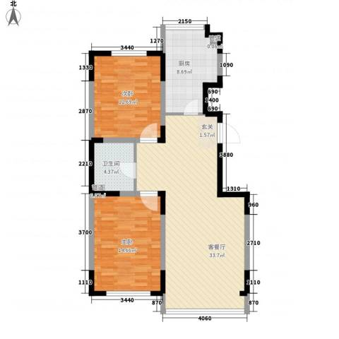 蓝调倾城2室1厅1卫1厨105.00㎡户型图