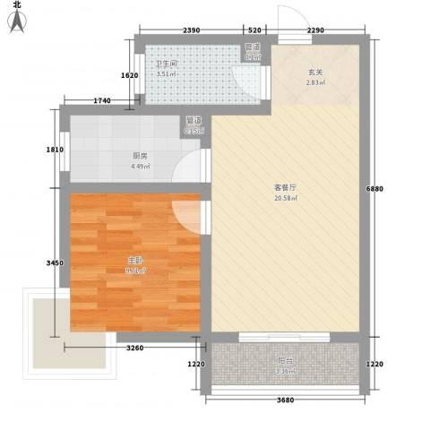 嘉冠尚城1室1厅1卫1厨62.00㎡户型图
