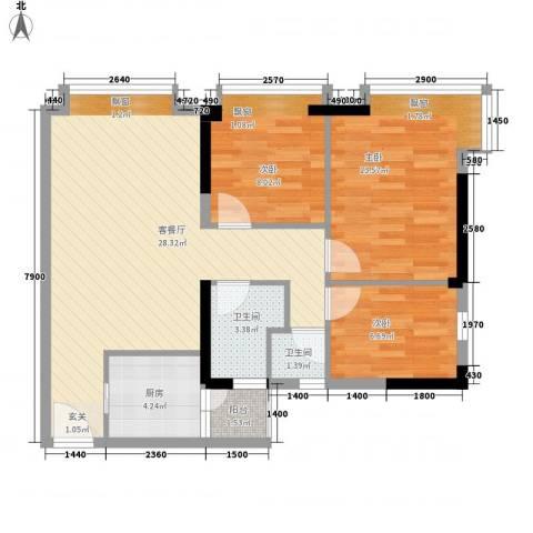 滨江瑞城3室1厅2卫1厨86.00㎡户型图