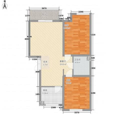�悦香湾2室1厅1卫1厨82.00㎡户型图