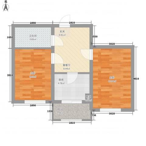 �悦香湾2室1厅1卫1厨56.00㎡户型图