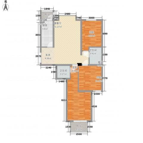 银丰山庄3室1厅2卫1厨128.00㎡户型图