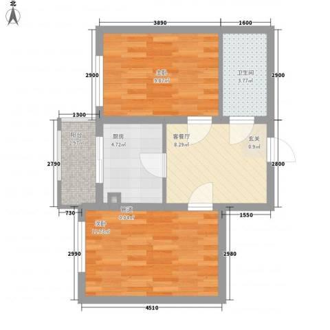 �悦香湾2室1厅1卫1厨84.00㎡户型图