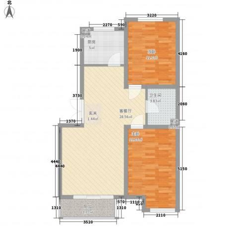 �悦香湾2室1厅1卫1厨66.70㎡户型图