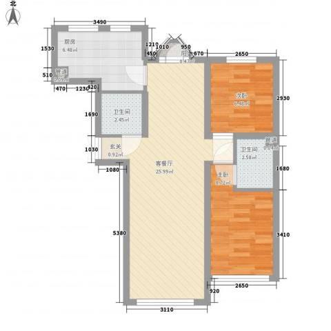 �悦香湾2室1厅2卫1厨76.00㎡户型图