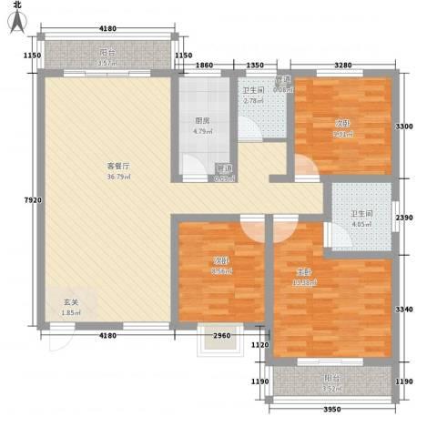 嘉冠尚城3室1厅2卫1厨127.00㎡户型图