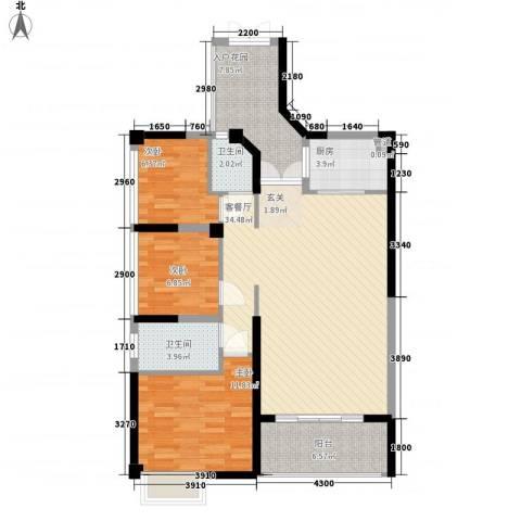 汇龙湾花园3室1厅2卫1厨83.92㎡户型图