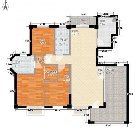 宝龙湖畔花城3室1厅2卫1厨143.00㎡户型图