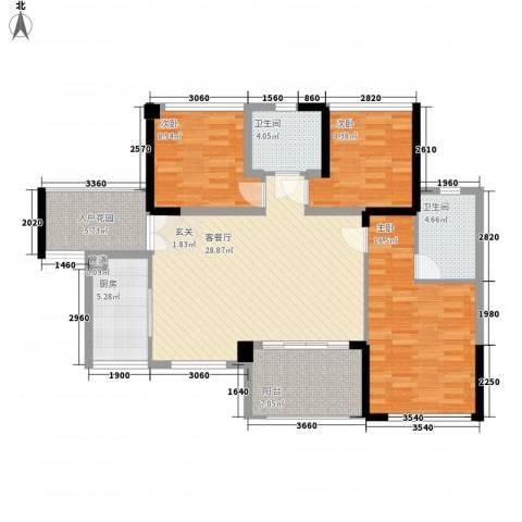 汇龙湾花园3室1厅2卫1厨89.55㎡户型图