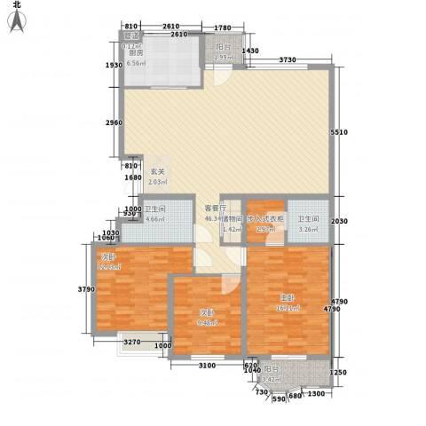 银丰山庄3室1厅2卫1厨153.00㎡户型图