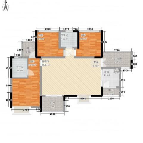 汇龙湾花园3室1厅2卫1厨99.23㎡户型图