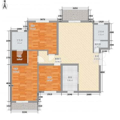 银丰山庄4室2厅2卫1厨137.00㎡户型图