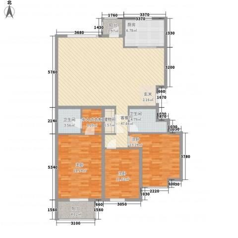 银丰山庄3室1厅2卫1厨164.00㎡户型图