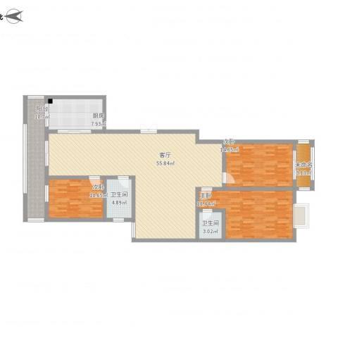 古槐家园3室1厅2卫1厨185.00㎡户型图