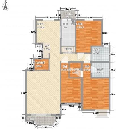 银丰山庄3室1厅2卫1厨162.00㎡户型图