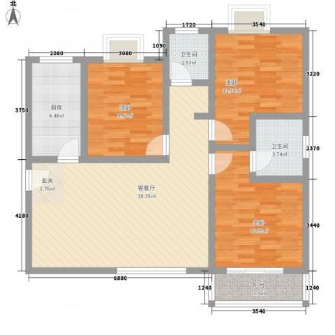 嘉冠尚城3室1厅2卫1厨116.00㎡户型图