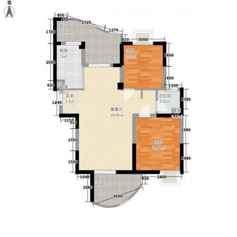 森林海2室1厅1卫1厨96.00㎡户型图