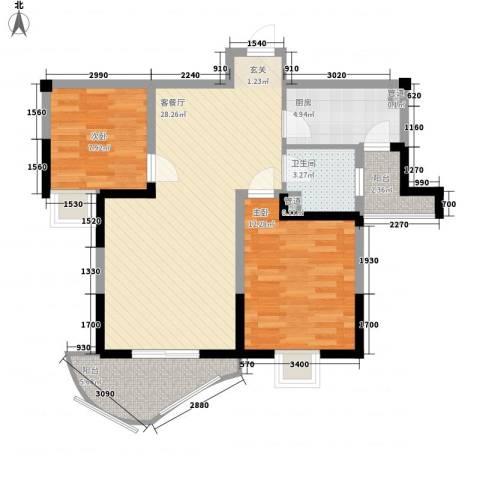 森林海2室1厅1卫1厨93.00㎡户型图